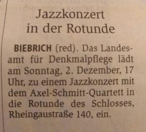 Wiesbadener Kurier 01.12.18 - Axel Schmitt Quartett